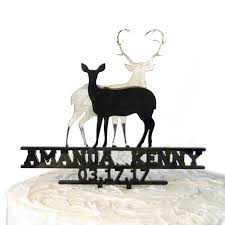 buck and doe wedding cake topper buck and doe mirror personalized wedding cake topper lazerworx