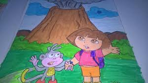 dora the explorer coloring pages dora the explorer volcano erupted funny coloring pages for