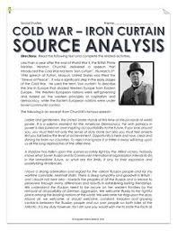 Winston Churchill And The Iron Curtain War Iron Curtain Speech And Cartoon Analysis With Teacher Key