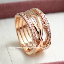 jewelry rings online images European pandora style rose gold plated entwined charm ring jpg