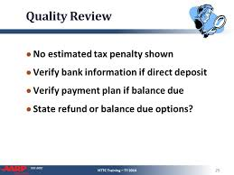 Estimate Tax Refund 2014 by Refund Tax Owed Pub 4491 Part 7 Nttc Ty Ppt