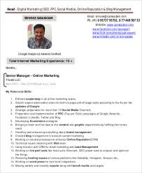 Online Marketing Resume by Sample Digital Marketing Resume 8 Examples In Word Pdf