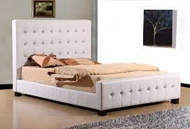 white leather bed frame king home design ideas