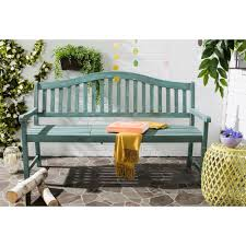 Outside Benches Home Depot by Safavieh Mischa Outdoor Steel Patio Bench In Beach House Blue