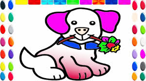 how to draw cute dog coloring page for kids animation drawing