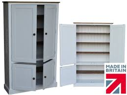 Kitchen Cabinet Flat Pack 100 Solid Wood Cupboard White Painted U0026 Waxed 4 Door Pantry