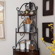 Bakers Rack Console Corner Bakers Rack With Wrought Iron Frame And Wood Storage