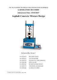 marshall mix design lab report