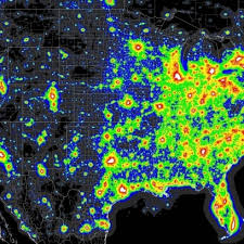 Light Polution Map Light Pollution Map Of The United States