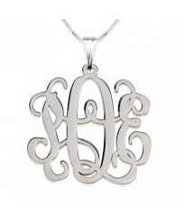 Sterling Silver Monogram Jewelry Personalized Jewelry Name Necklaces Monogram Jewelry