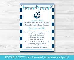 nautical anchor printable baby shower invitation editable pdf ebay
