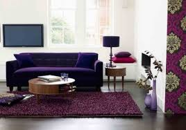 Purple Shag Area Rugs by Transparent Glass Coffee Table Top Mixed Varnished Wood Floor Tile