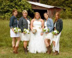 pink bridesmaids dresses paired with denim jean jackets and