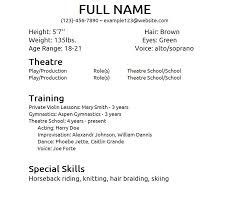 Professional Resume Word Template Theater Acting Resume Template Cv Samples For Theatre Update 866