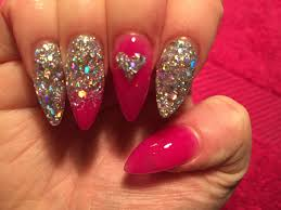 acrylic nails pink and silver youtube