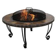 endless summer 34 in wrought iron fire pit with slate tile and