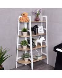 Corner Bookcase Deal Alert Costway 4 Tier Wood Corner Bookcase Ladder Shelf Wall