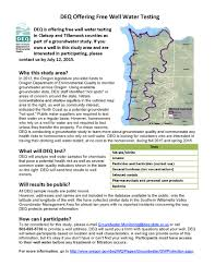 Tillamook Oregon Map by City Of Tillamook Deq Offers Free Well Water Testing In