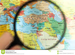 Syria On A World Map by Syria On The World Map With A Magnifying Glass Stock Photo Image