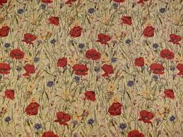 brockhall designs sand poppy tapestry fabric