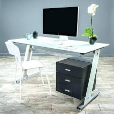 Modern Glass Desk With Drawers Glass Desk Modern Glass Desk For Two With Drawers