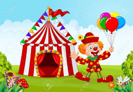 circus balloon illustration of circus tent with clown holding balloon in the