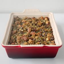 thanksgiving stuffing dressing cornbread dressing with chestnuts and bacon popsugar food