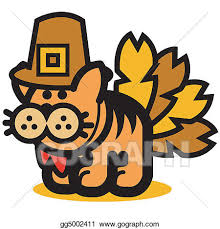 eps vector thanksgiving turkey cat stock clipart