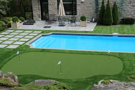 synthetic grass around swimming pools round designs