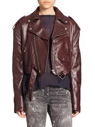 biker apparel faith connexion cropped leather biker jacket in purple lyst