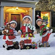 Outdoor Fiber Optic Snowman Christmas Decorations by Decorationg Ideas With Elf Set Of Three Fiber Optic Elves