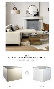 cube mirror side table cb2 city slacker mirror side table copycatchic