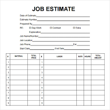 Free Estimates Forms by Sle Template 7 Free Documents Pdf Doc