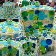 polka dot baby shower cake link to blog added by