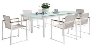 Expandable Patio Table Exquisite Modern Extendable Glass Patio Dining Set 7 Of