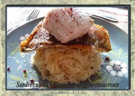 comment cuisiner un sandre sandre cuit à l unilatérale sur lit de choucroute la cuisine de lilly