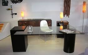 White Table L Office Tables Design Brown Colors Wooden Office Desk