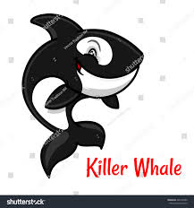 black white spotted killer whale cartoon stock vector 448145380