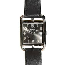 hermes barenia calfskin cape cod tgm 33mm watch noir black 105307