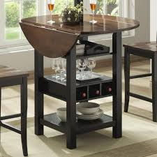 bar table with storage base furniture brown wooden rectangle height table with wine storage