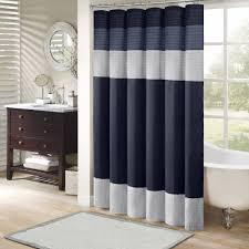 Blue And White Striped Shower Curtain Home Essence Salem Polyester Shower Curtain Walmart Com