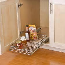 sink kitchen cabinet organizer smart design 1 tier shelf pull out cabinet organizer small roll out extendable sliding drawer steel metal holds 100 lbs kitchen 12 in x