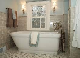 bathroom ideas cream subway tile bathroom and freestanding