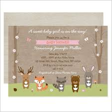 Baby Woodland Animals Baby Shower - woodland creatures baby shower invitations together with pink