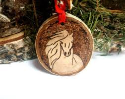 wood burned caribou ornamenttree slice caribou ornament