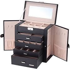 jewelry necklace case images Homde synthetic leather huge jewelry box mirrored watch organizer jpg