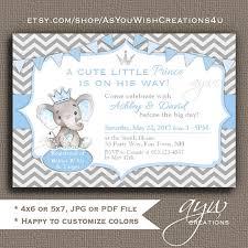 printable baby shower invitations elephant baby shower invitations boy elephant prince baby shower