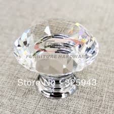 2pcs 30mm zinc alloy clear glass crystal glass cabinet knobs and