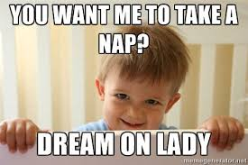 toddler terror you want me to take a nap dream on lady my memes