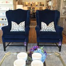 Blue Chairs For Living Room Navy Blue Wingback Chair With Black Painted Legs Design